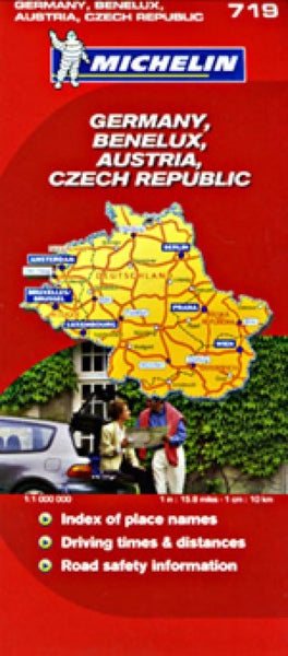 Germany, Austria, Czech Rep, Benelux Travel Map