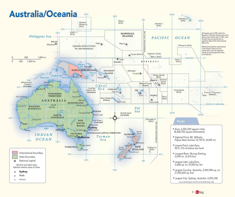 Australia & Oceania Political Wall Map