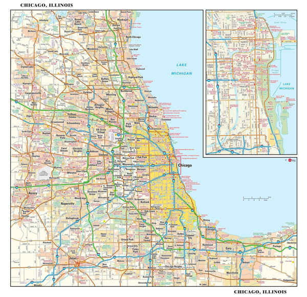 Chicago Metro Wall Map