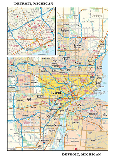 Detroit Metro Wall Map
