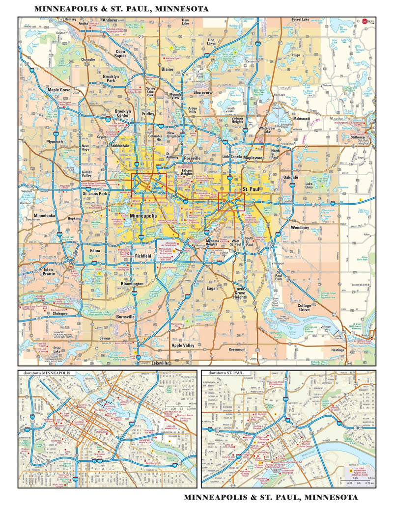 Twin Cities Metro Wall Map