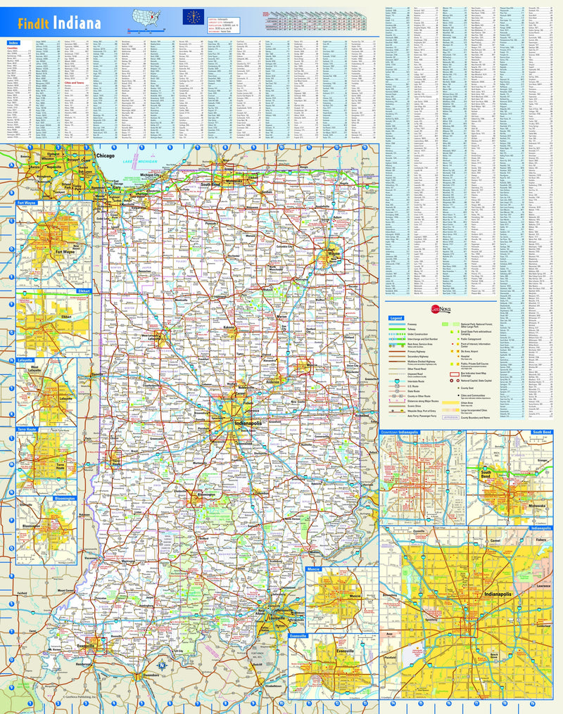 Indiana Wall Map