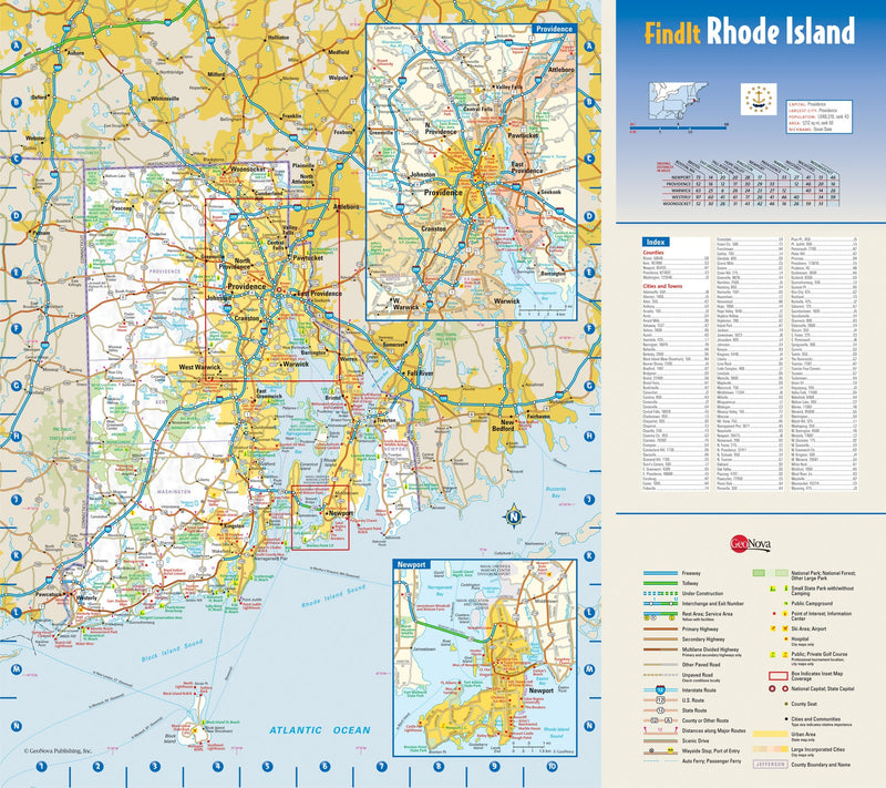 Rhode Island Wall Map