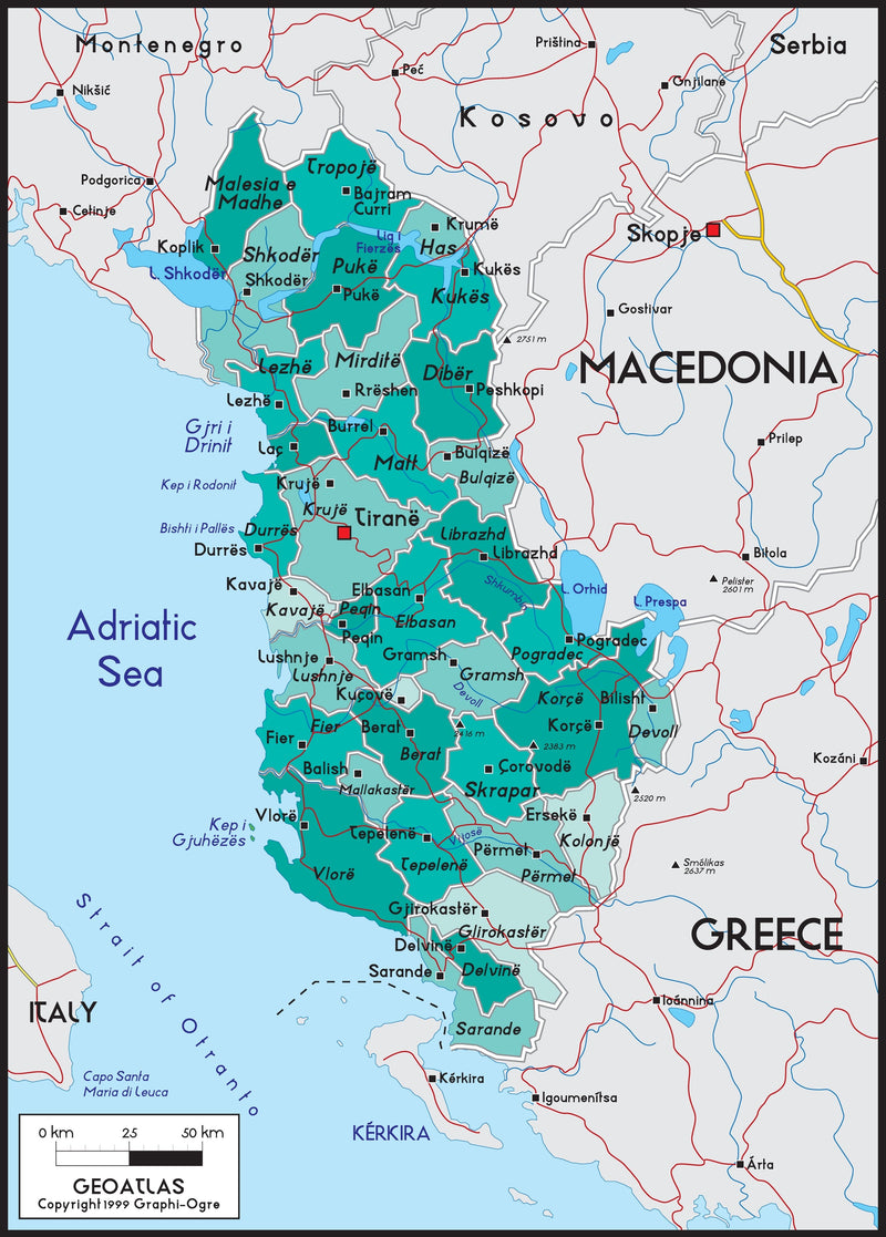 Albania Political Wall Map