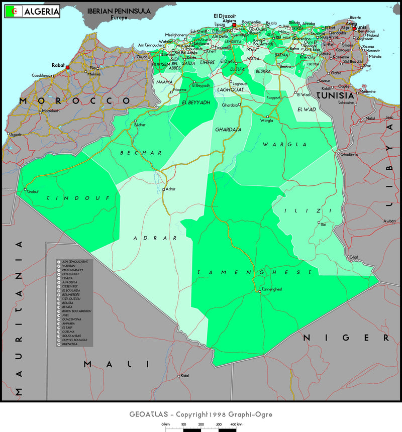 Algeria Political Wall Map