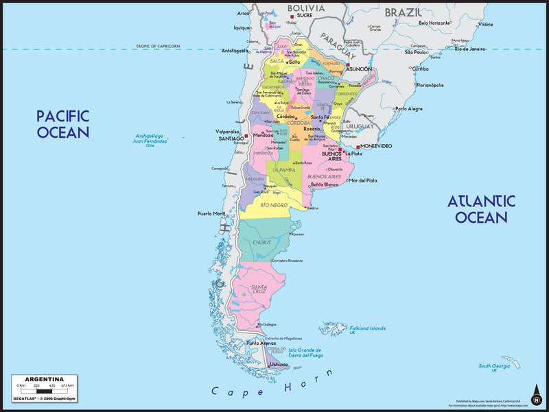 Argentina Political Wall Map