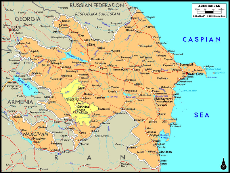 Azerbaijan Political Wall Map