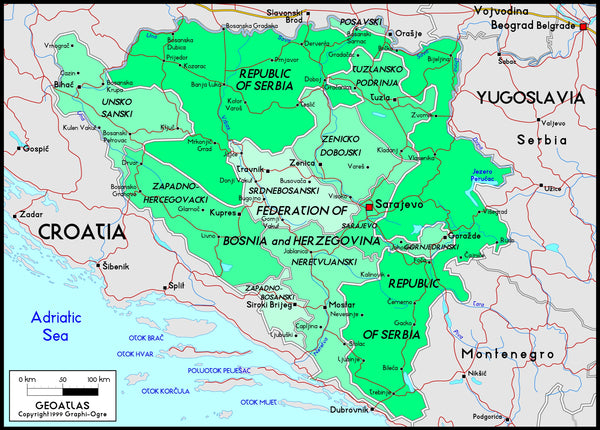 Bosnia Political Wall Map