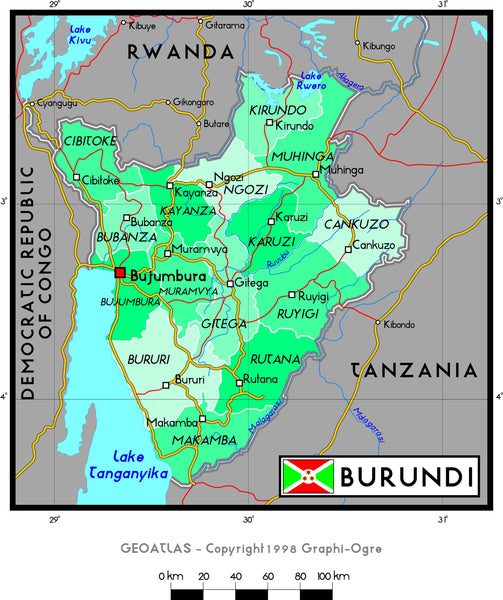 Burundi Political Wall Map