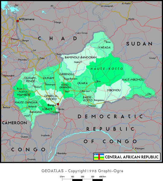 Central African Republic Political Wall Map