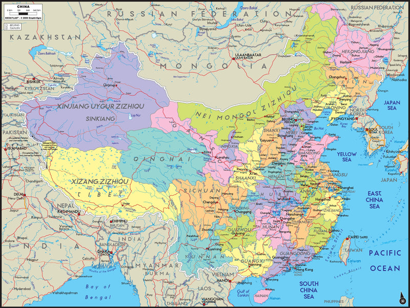 China Political Wall Map