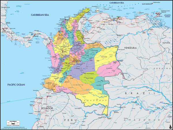 Colombia Political Wall Map