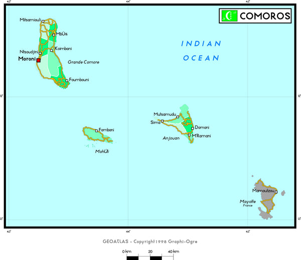 Comoros Political Wall Map