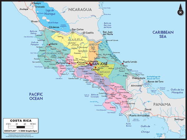 Costa Rica Political Wall Map