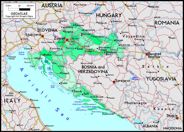 Croatia Political Wall Map