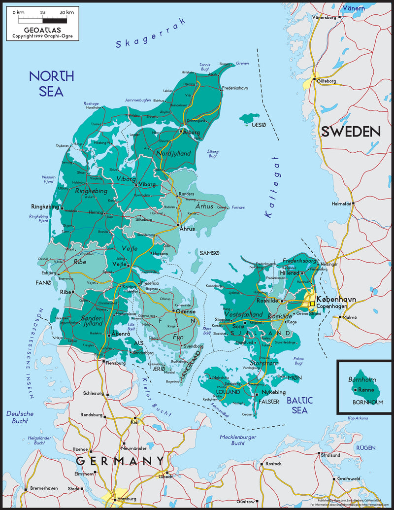 Denmark Political Wall Map