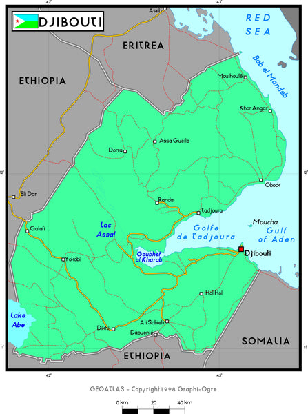 Djibouti Political Wall Map
