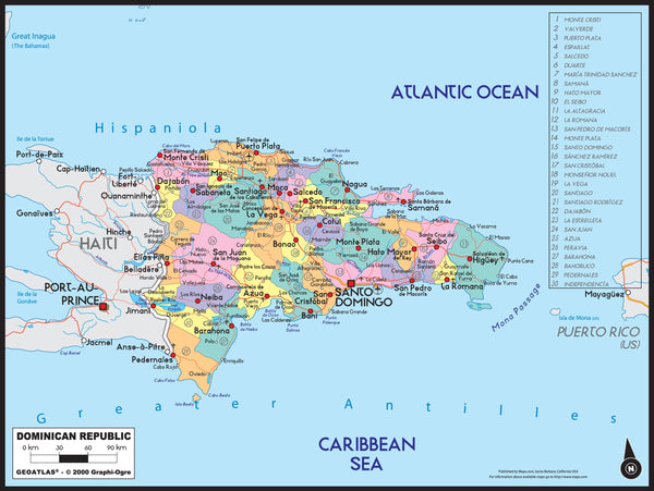 Dominican Republic Political Wall Map