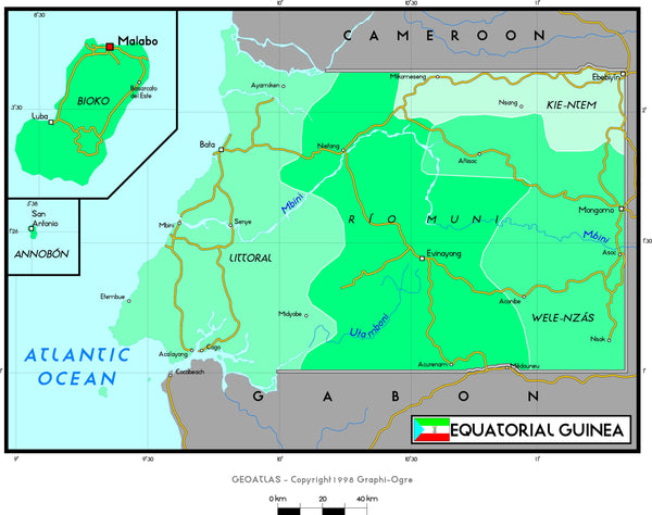 Equatorial Guinea Political Wall Map