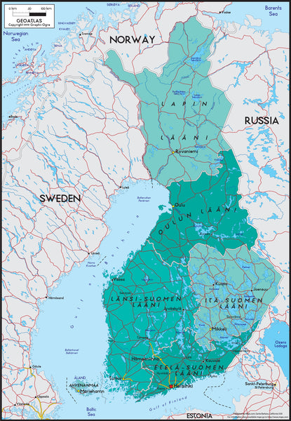 Finland Political Wall Map