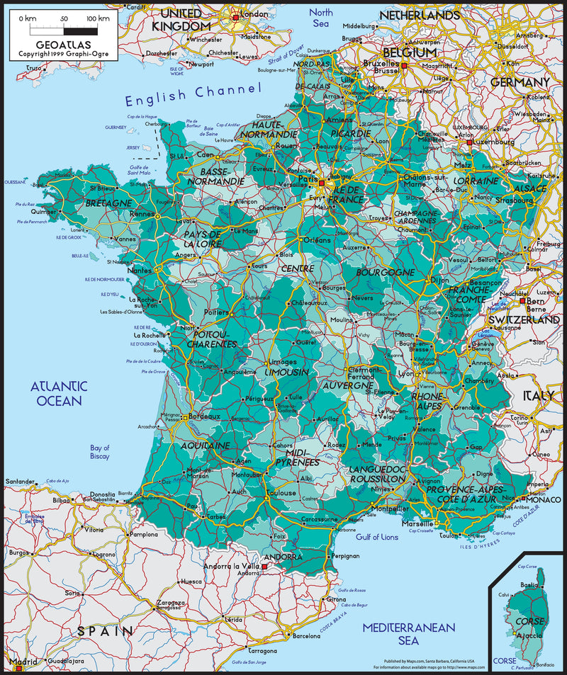 France Political Wall Map
