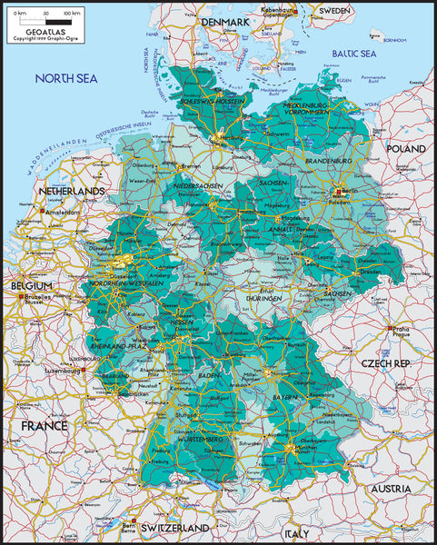 Germany Political Wall Map