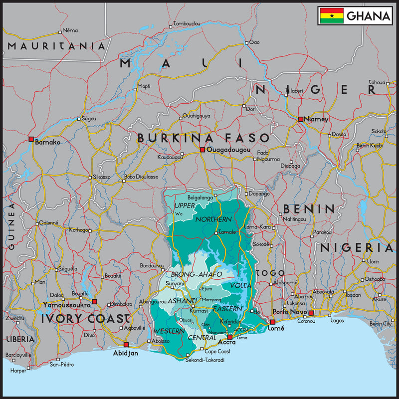 Ghana Political Wall Map