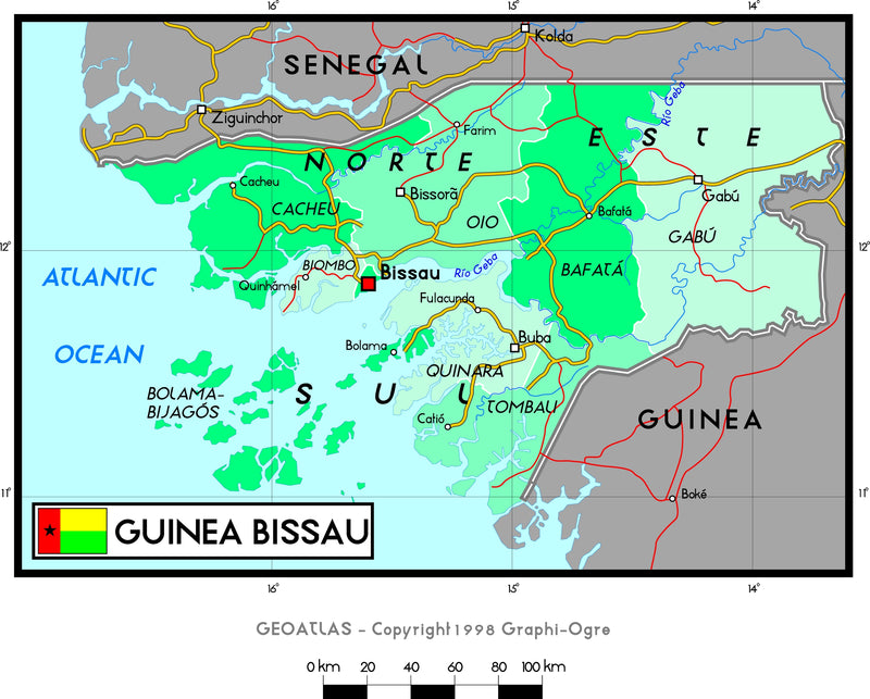Guinea Bissau Political Wall Map