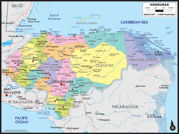 Honduras Political Wall Map