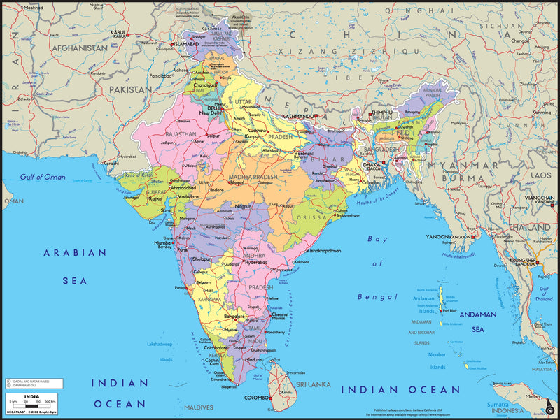 India Political Wall Map