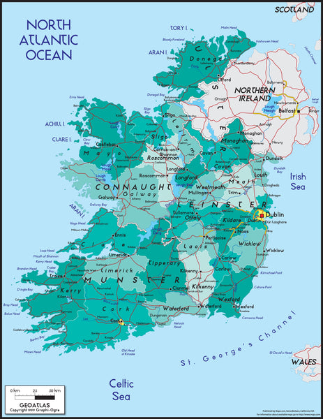 Ireland Political Wall Map