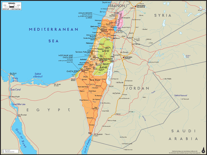Israel Wall Map