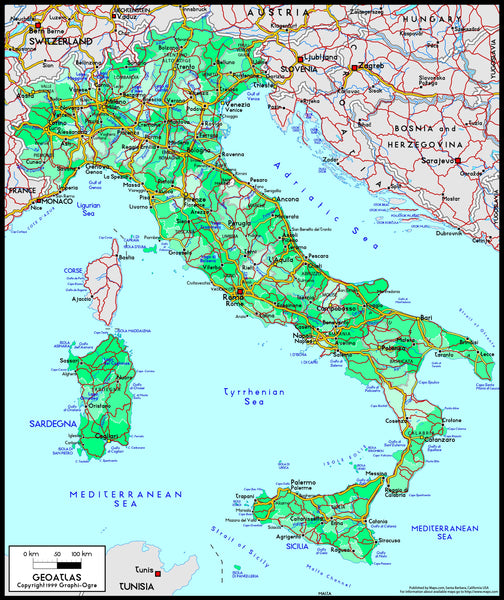 Italy Political Wall Map