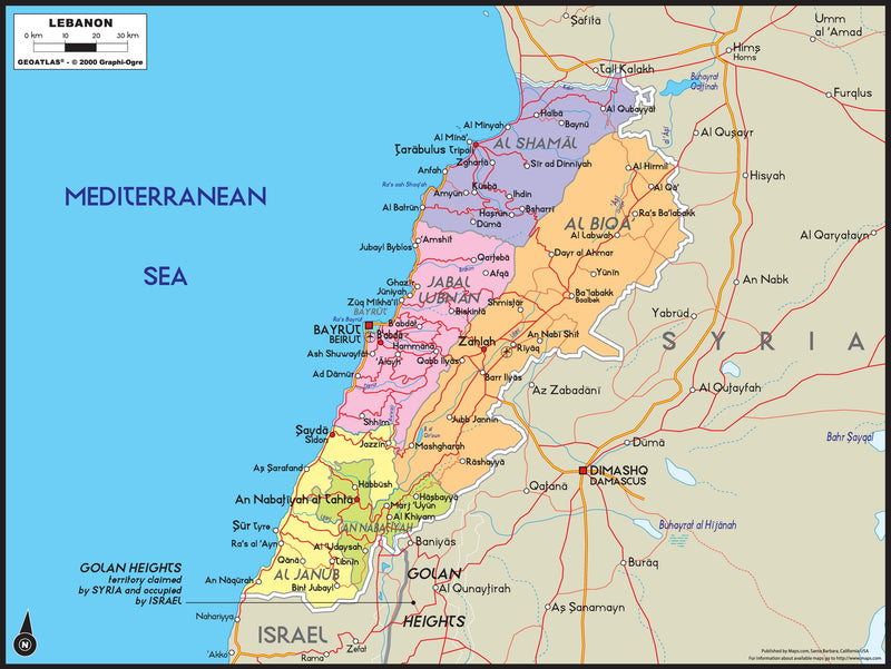 Lebanon Political Wall Map