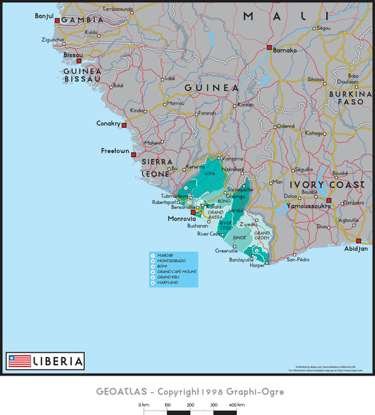 Liberia Political Wall Map