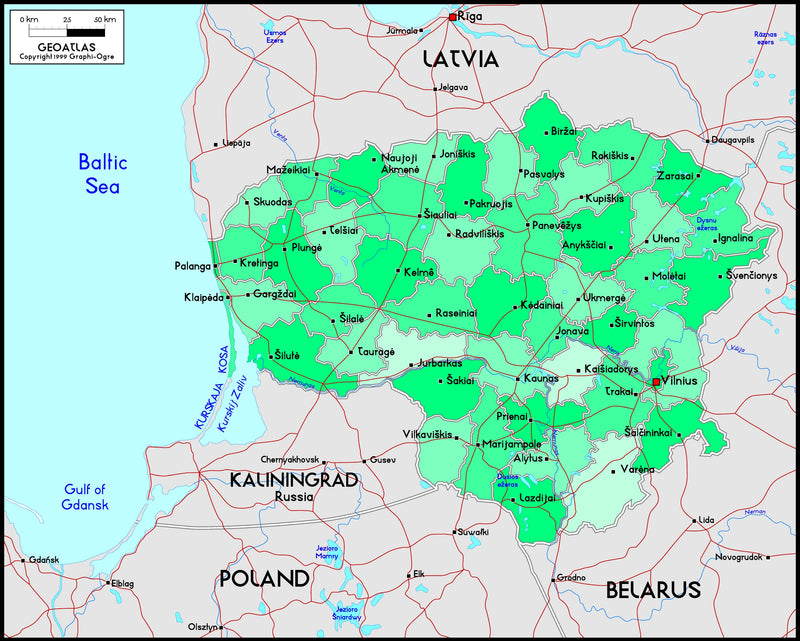 Lithuania Political Wall Map