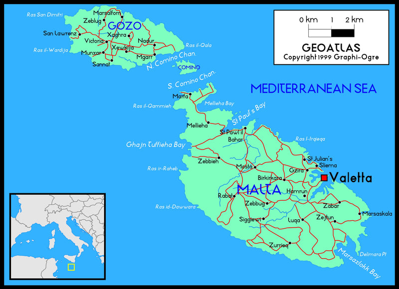 Malta Political Wall Map