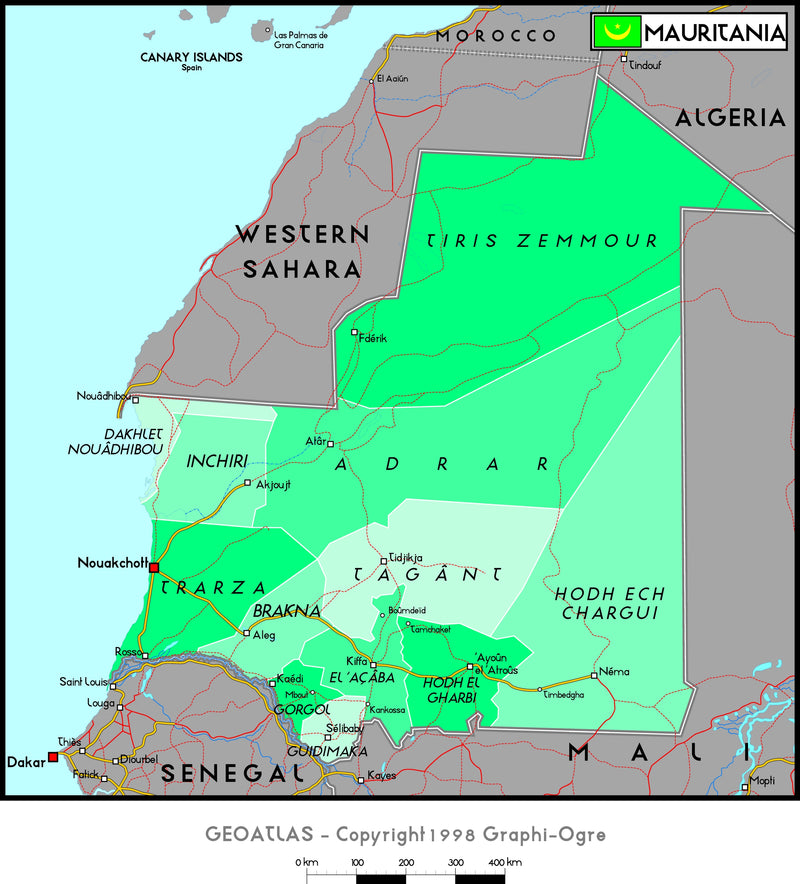 Mauritania Political Wall Map