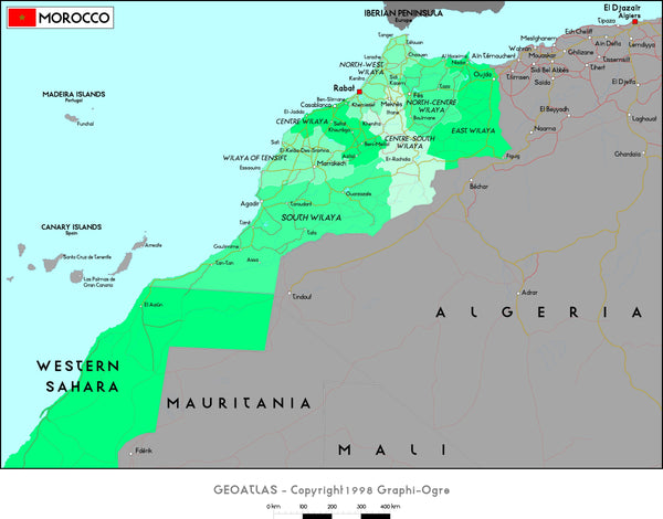 Morocco Political Wall Map