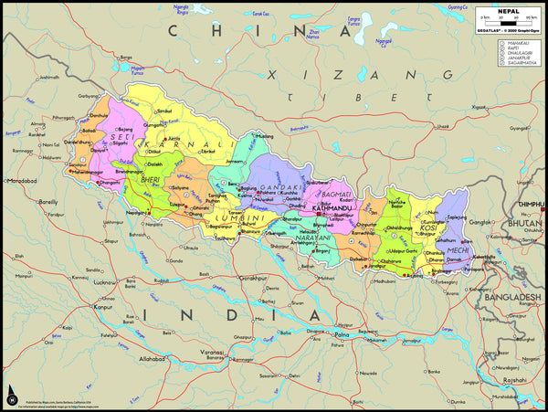 Nepal Political Wall Map