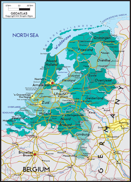Netherlands Political Wall Map