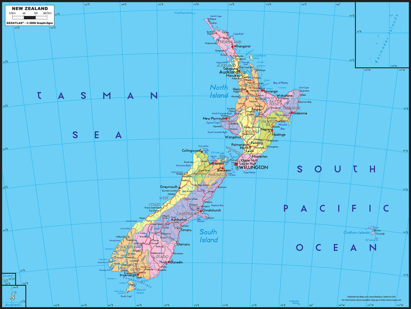 New Zealand Political Wall Map
