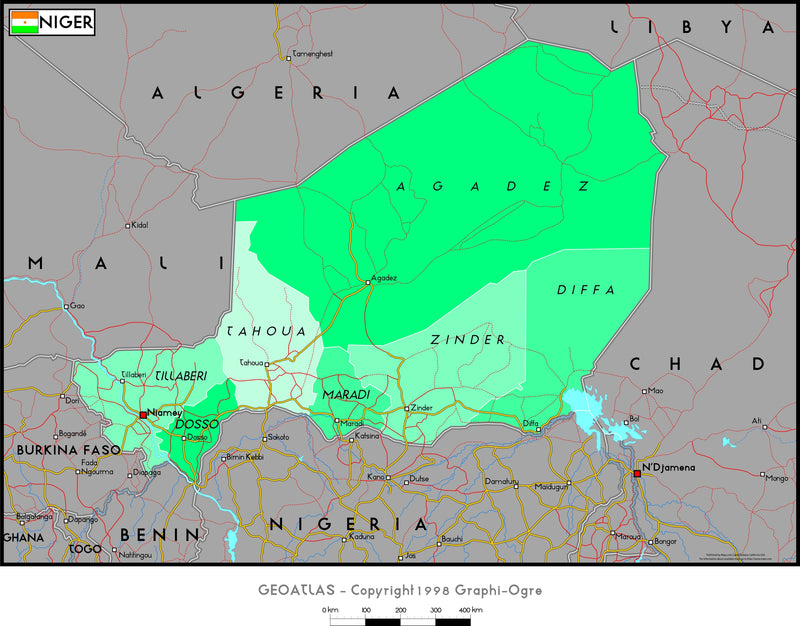Niger Political Wall Map