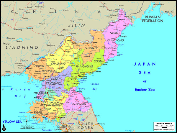 North Korea Political Wall Map