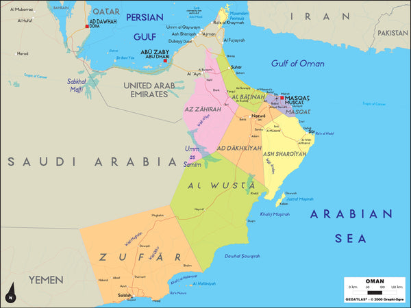 Oman Political Wall Map