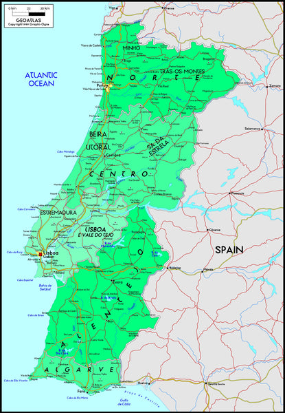 Portugal Political Wall Map