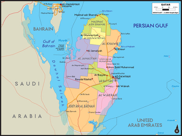 Qatar Political Wall Map