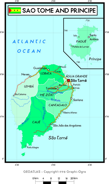 Sao Tome Political Wall Map