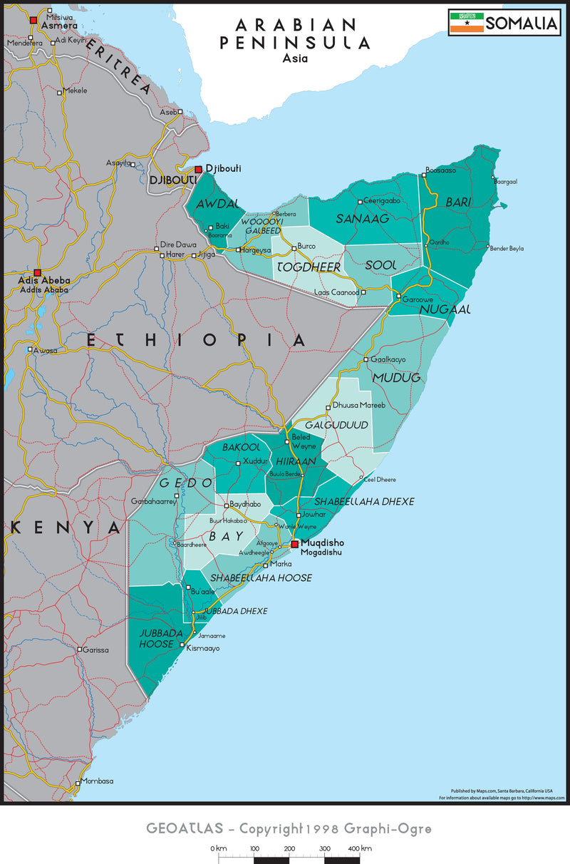 Somalia Political Wall Map