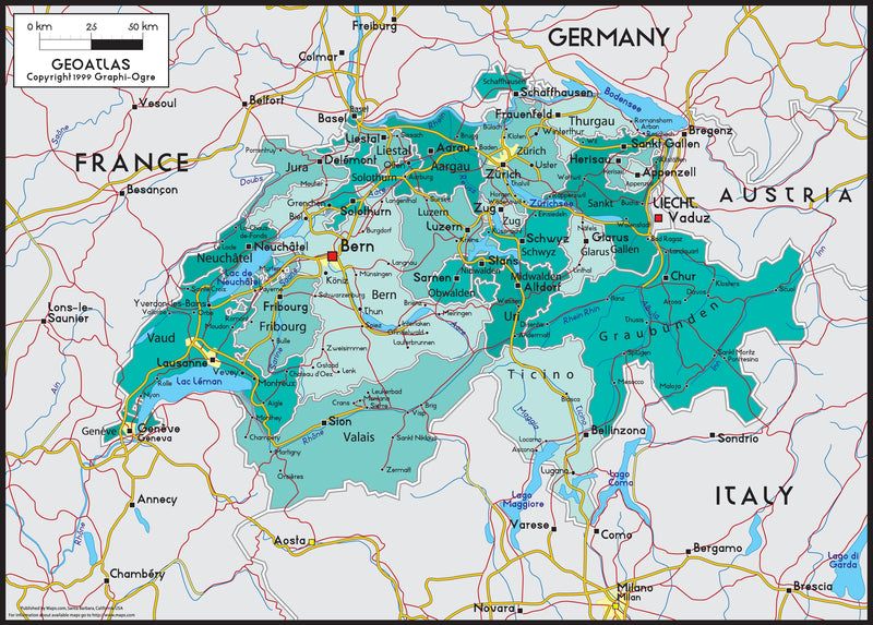 Switzerland Political Wall Map